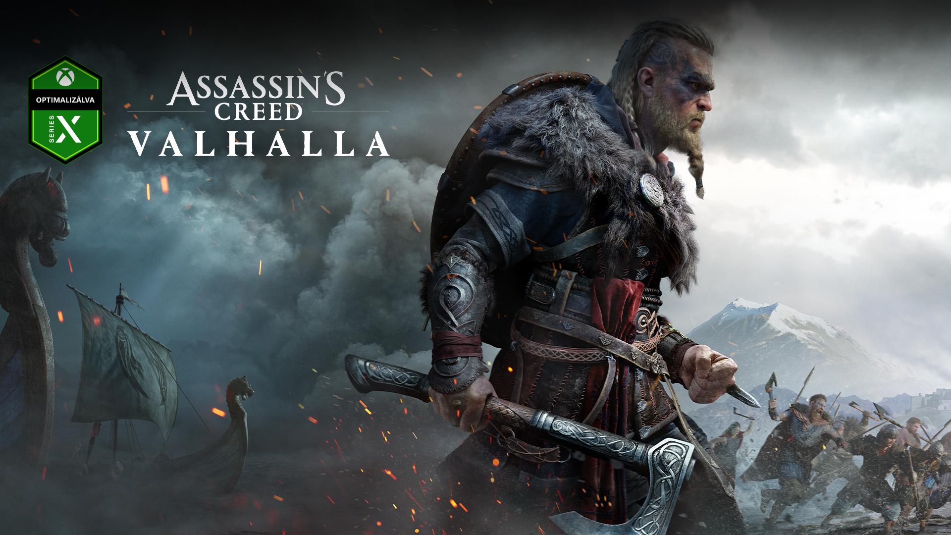 Az Xbox Series X konzolra optimalizálva – logó, Assassin's Creed Valhalla, karakter fejszével, hajók a ködben és egy csata