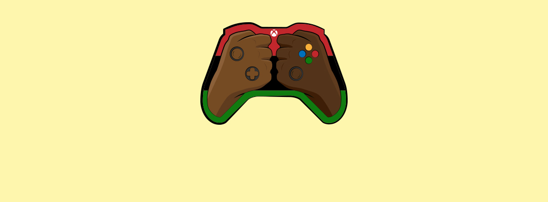 Illustration of two black hands making fists inside an Xbox controller