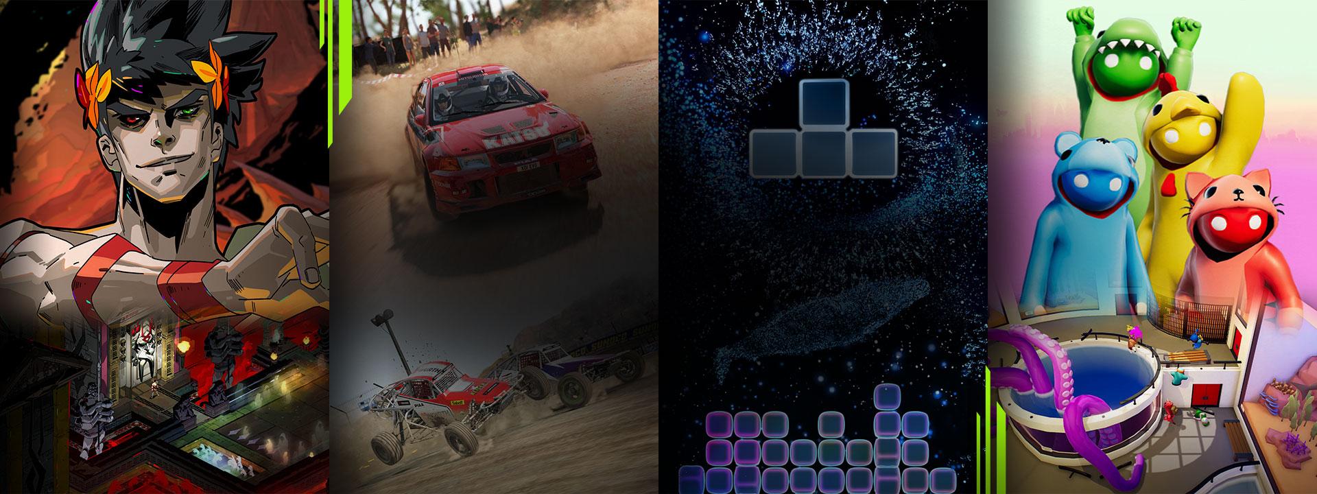 Výber hier dostupných s predplatným Xbox Game Pass vrátane Hades, Dirt 4, Tetris Effect Connected a Gang Beasts.