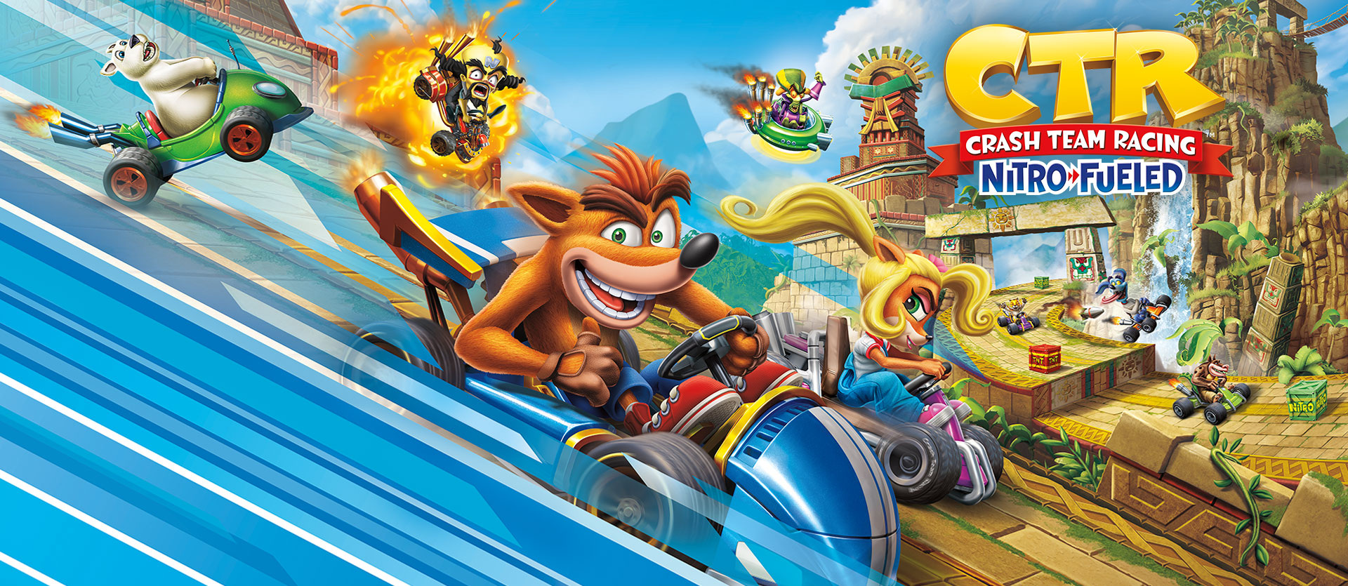 CTR Crash Team Racing Nitro Fueled, Crash Bandicoot og andre karakterer i køretøjer på junglebane