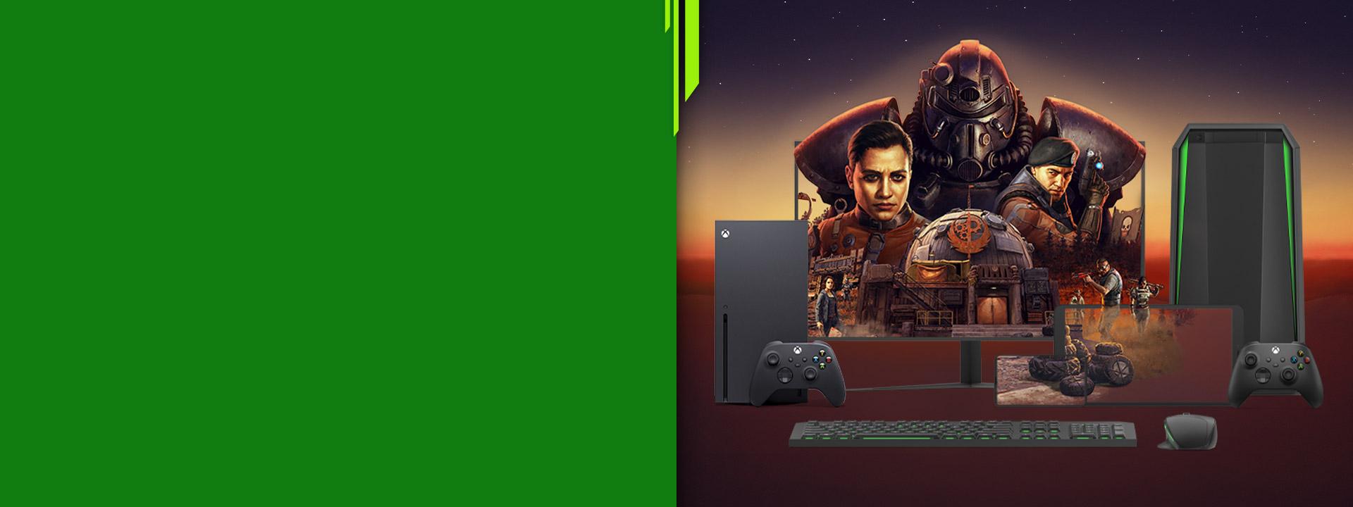 Mehrere intelligente Geräte zeigen Fallout 76-Game-Art auf den Bildschirmen an.