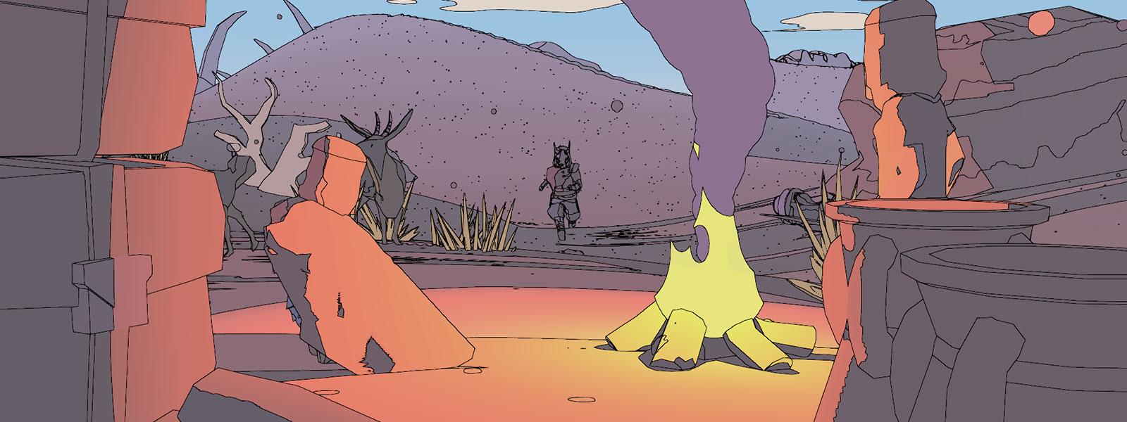 Sable die naar een kampvuur loopt
