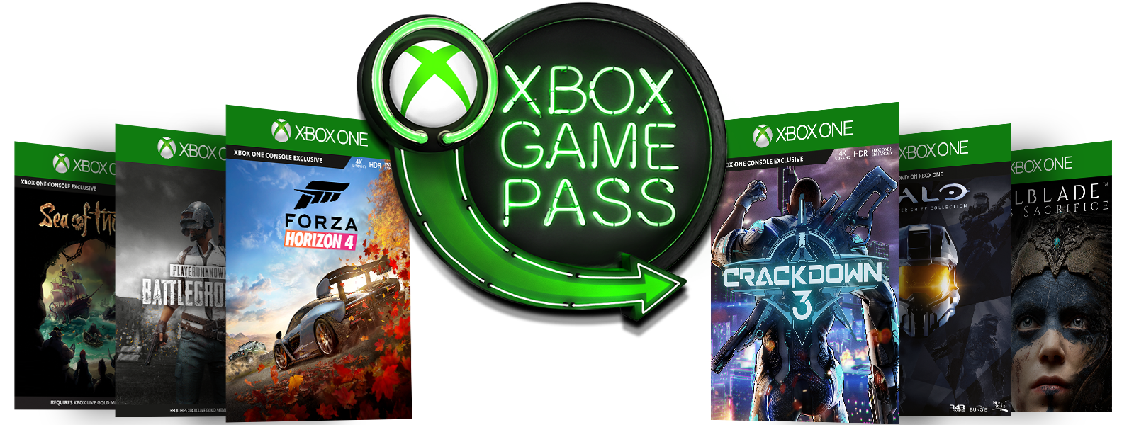 Box shots for Sea of Thieves, PLAYERUNKNOWNS Battleground, Forza Horizon 4, Crackdown 3, Halo The Master Chief Collection, and Hellblade Senuas Sacrifice surrounding the Xbox Game Pass Neon Sign logo