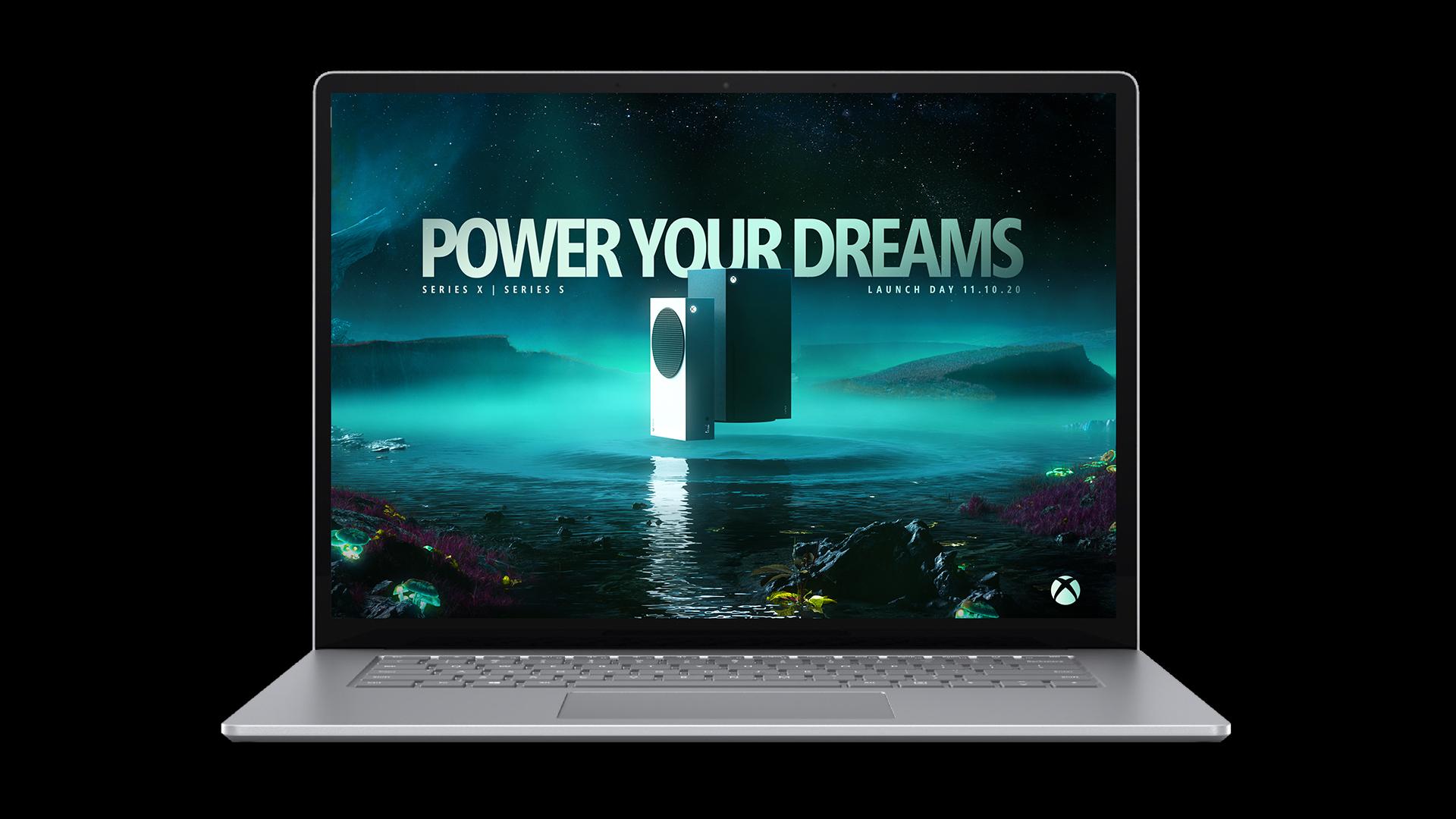 A laptop with a Launch Day background on it