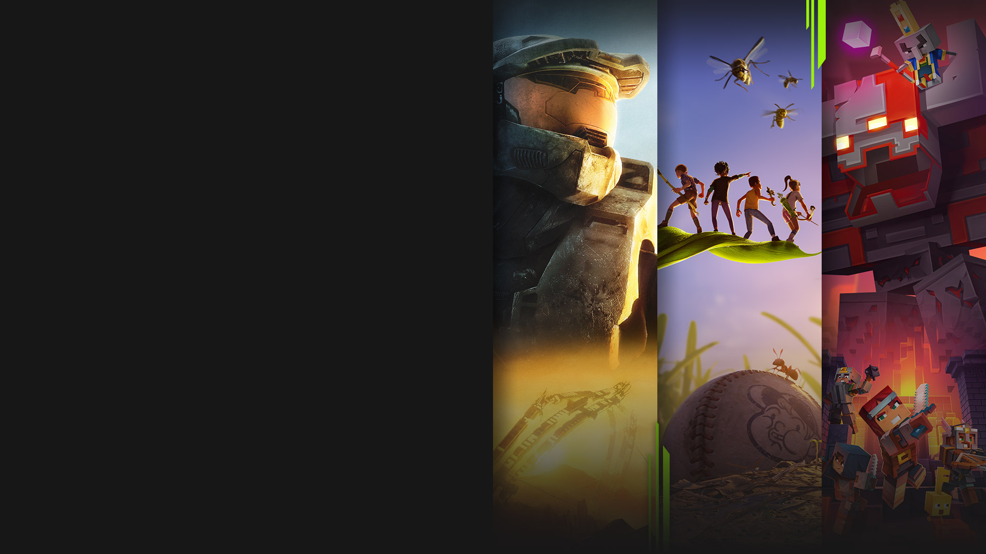 Game art from multiple games available with Xbox Game Pass including Halo 3, Grounded, Minecraft Dungeons and Forza Horizon 4.
