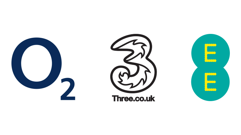 o2 logo | three.co.uk logo | E E logo