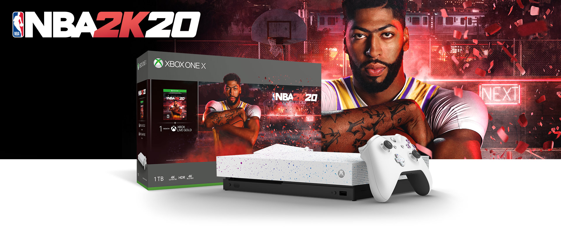 Xbox One X console in front of a hardware bundle box featuring NBA 2K20 art