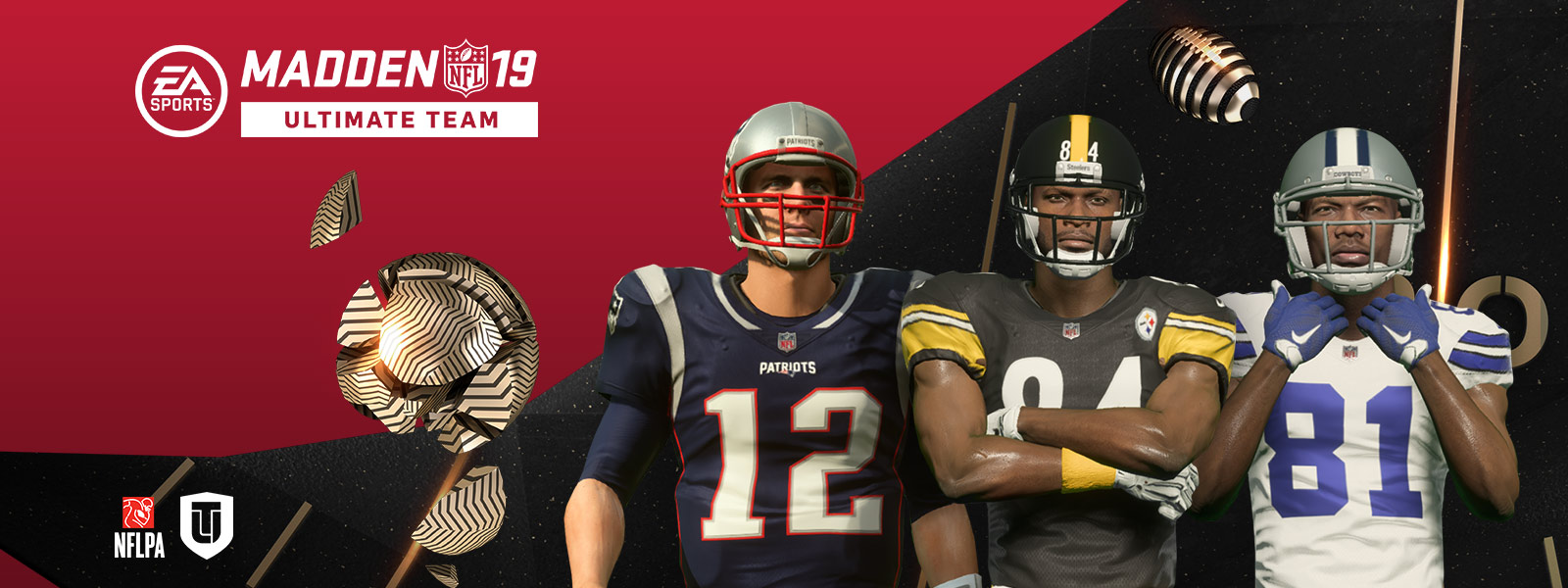 Madden NFL 19 Ultimate Team, vooraanzicht van Tom Brady, Antonio Brown, en Terrell Owens
