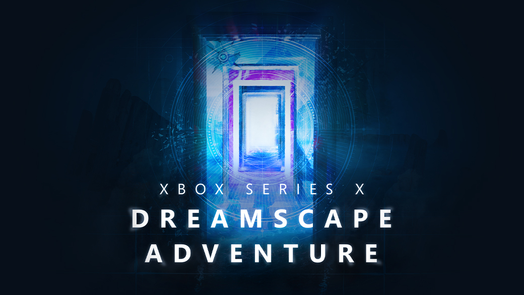 Xbox Series X Dreamscape Adventure. A door leading to other doors in a dream like state. A Destiny Ghost hovers outside.