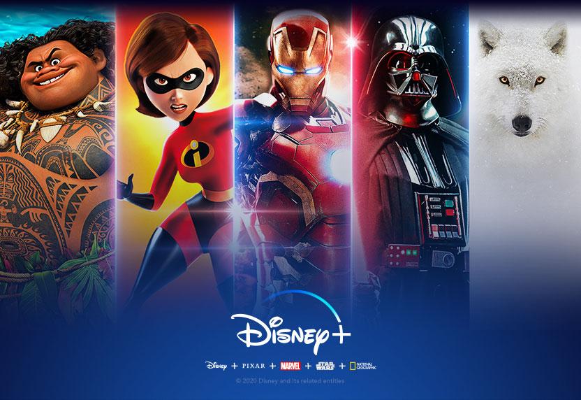 El logotipo Disney+ sobre varios personajes de las películas y series de Disney