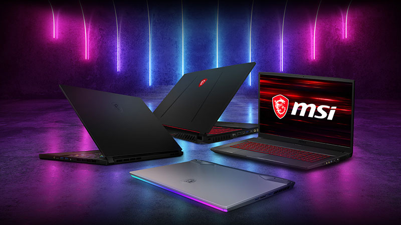 Collection of MSI laptops.