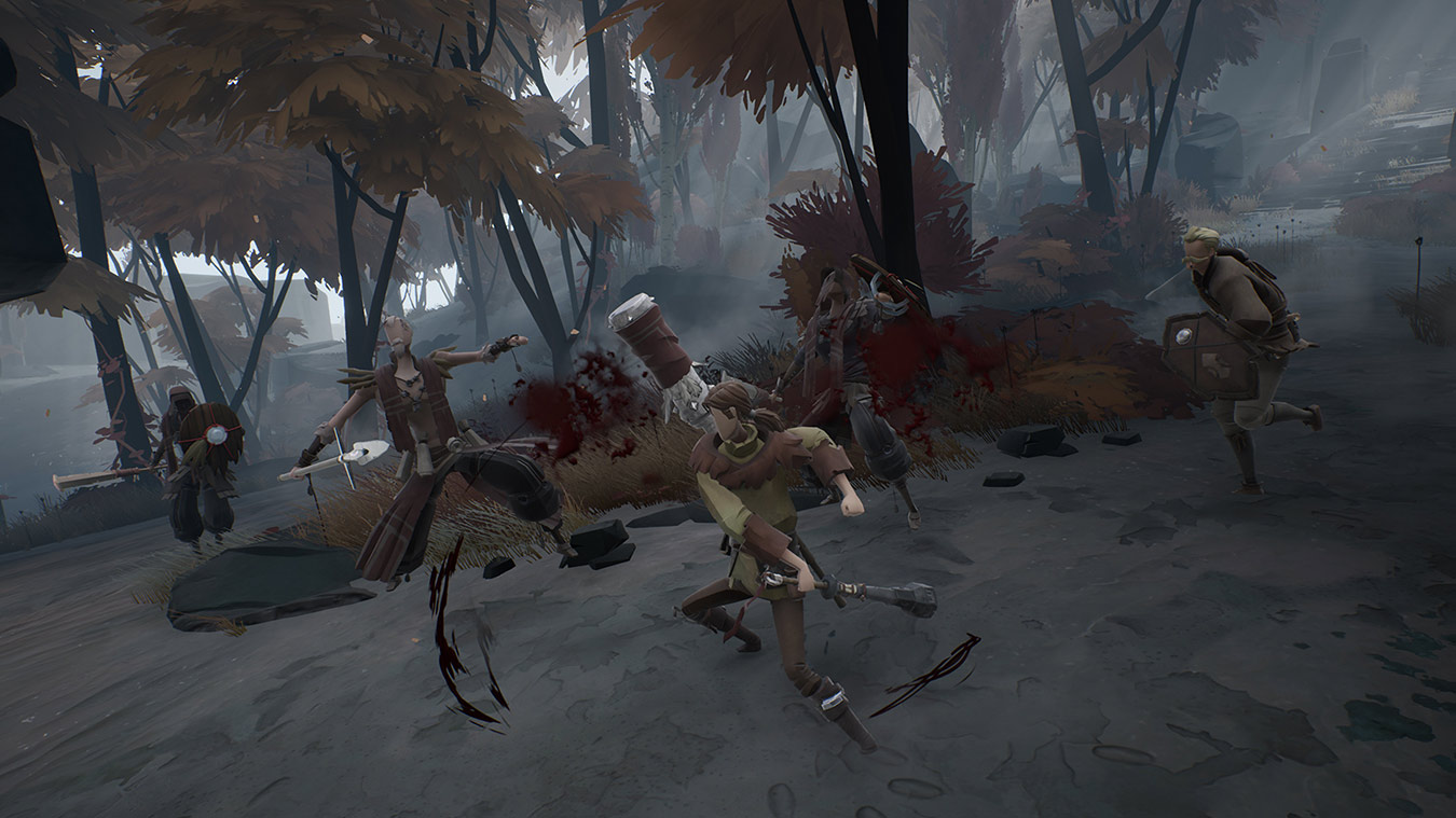 Ashen character battles four human enemies, hitting two of them