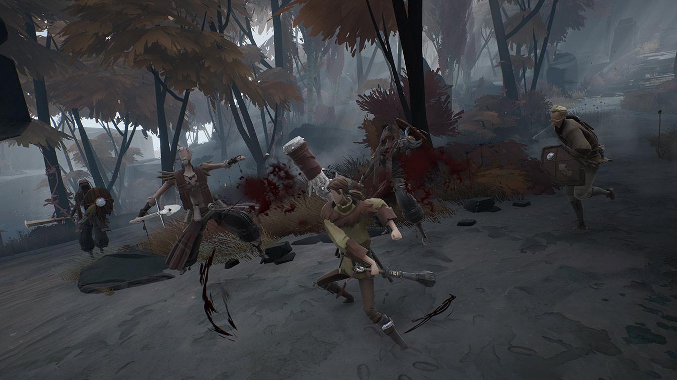 Personaje de Ashen que lucha contra cuatro enemigos humanos, golpeando a dos de ellos