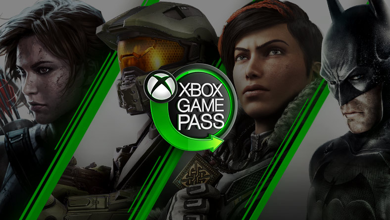 Xbox Game Pass neon sign with Xbox nexus logo and green arrow surrounded by Lara Croft, Master Chief, Kait Diaz and Batman.