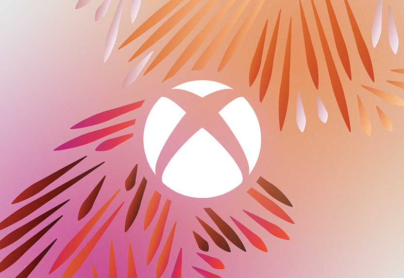 Xbox logo on a pink, orange and purple background with illustrated palm leaves.