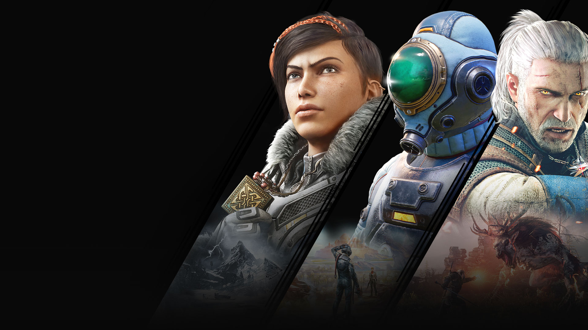 Un collage de juegos disponibles con Xbox Game Pass que incluye Gears 5, The Outer Worlds y The Witcher.