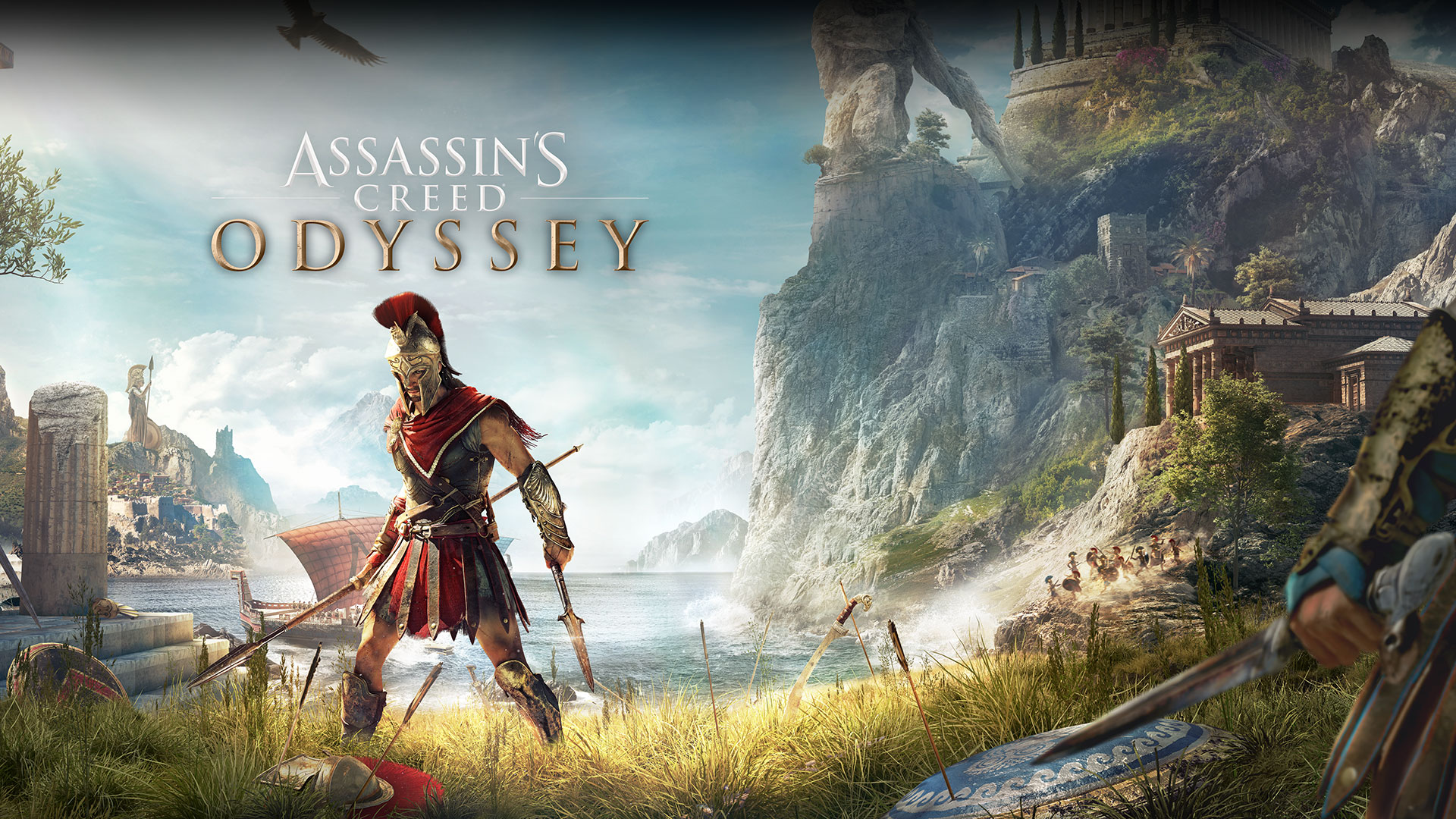 Assassin's Creed Odyssey, Greek hero Alexios stands on the shore wielding two spears