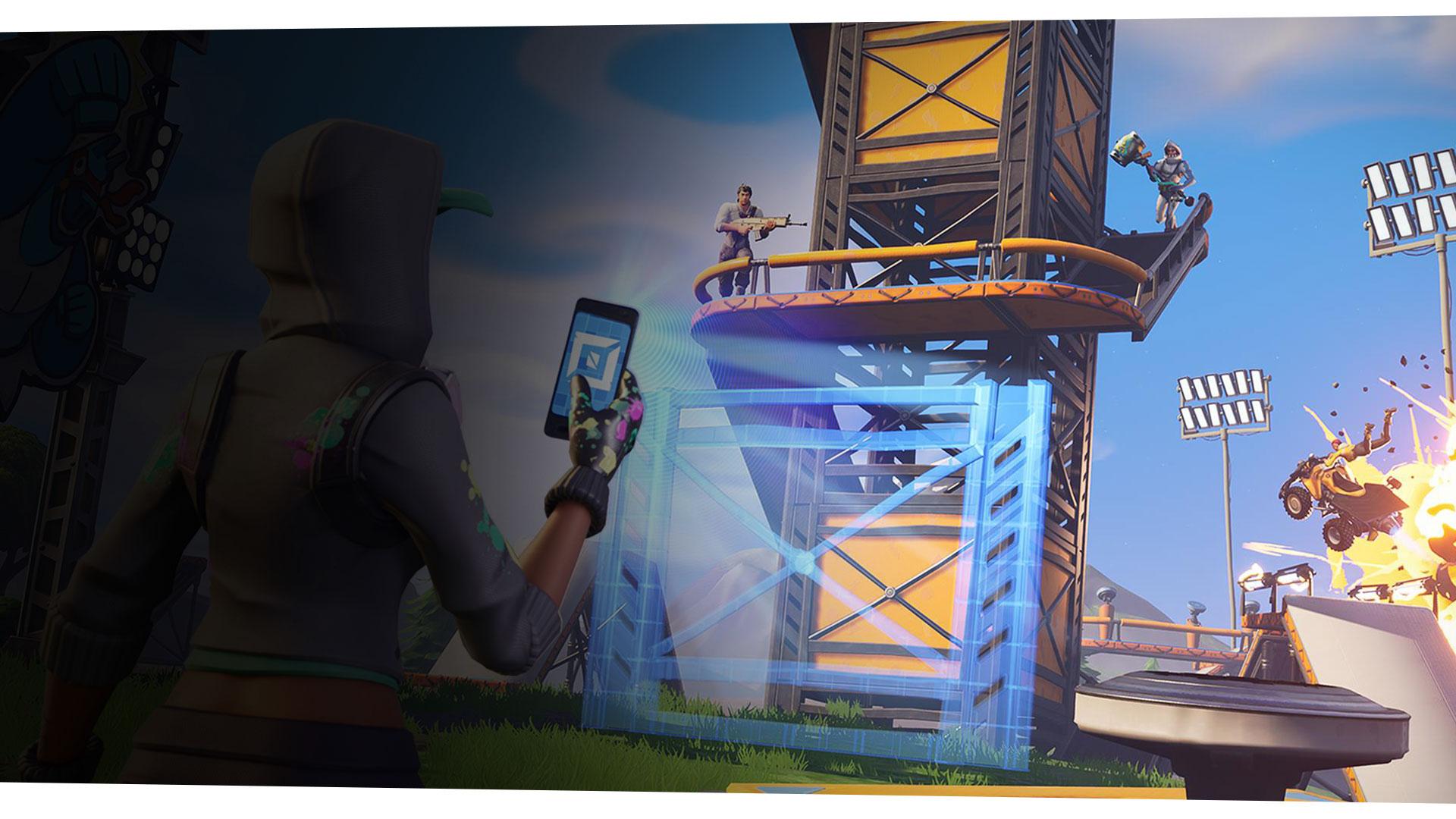 Un personaggio femminile di Fortnite usa il suo dispositivo mobile per creare un'impalcatura