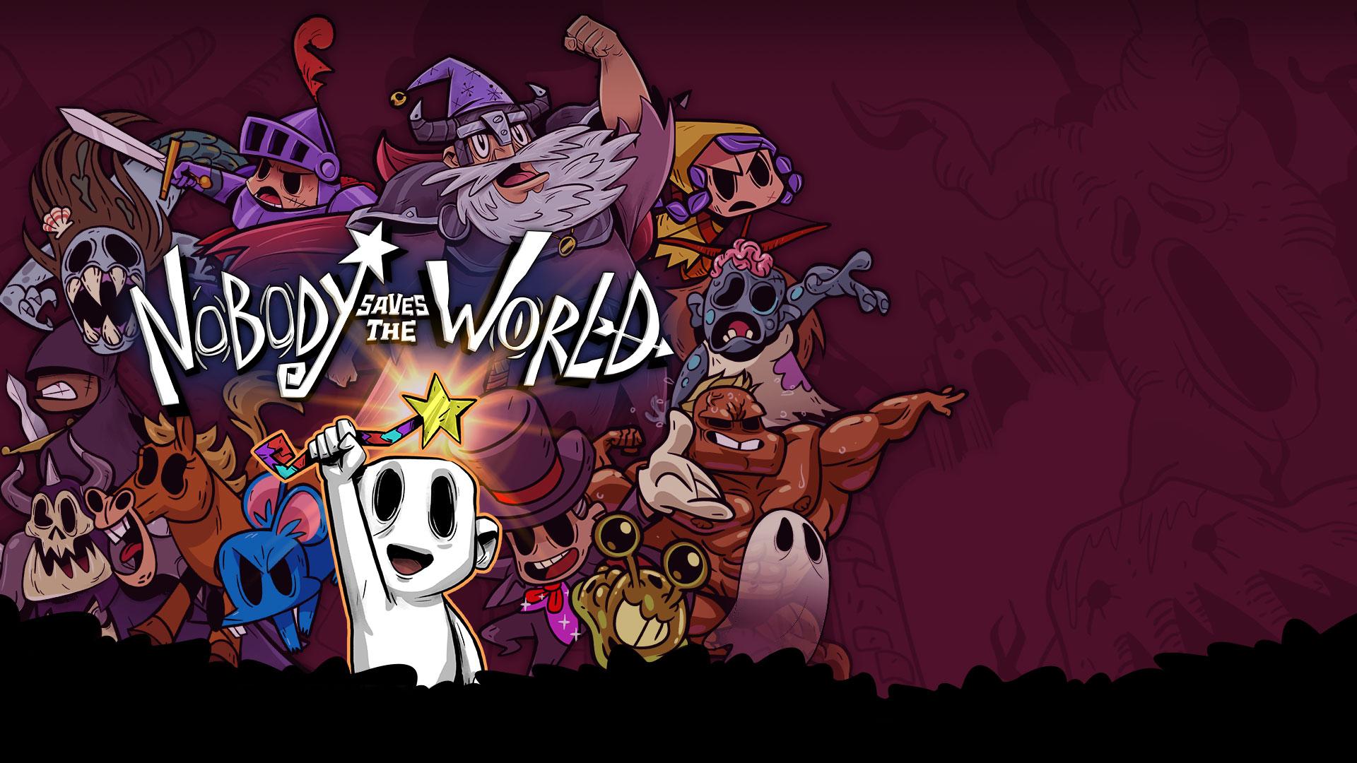 Nobody Saves the World, Nobody staat met een toverstok boven zijn hoofd voor een collage van gamepersonages