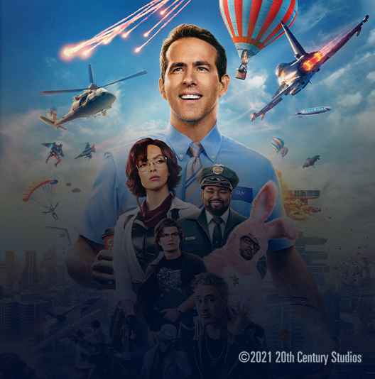 Free Guy, Copyright 2021 20th Century Studios, movie promo featuring cast members, including Ryan Reynolds and Jodie Comer.
