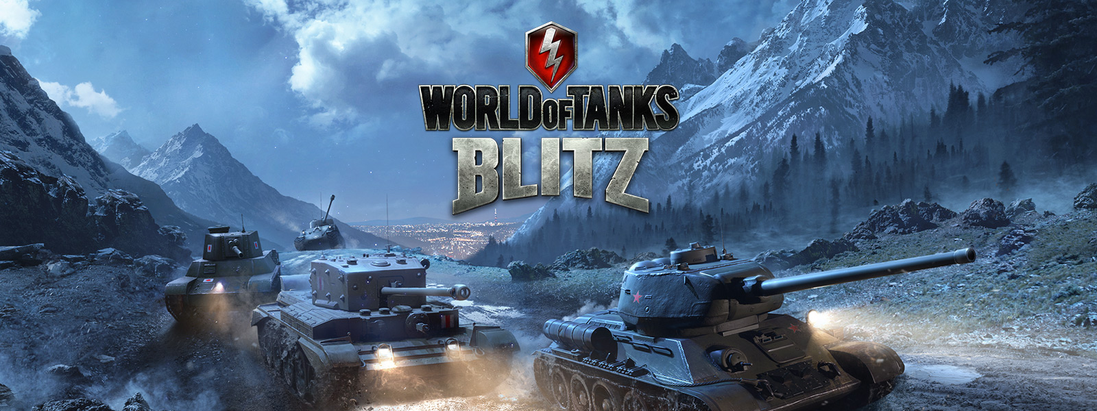 World of Tanks Blitz, Line tanks roll through mountains at night