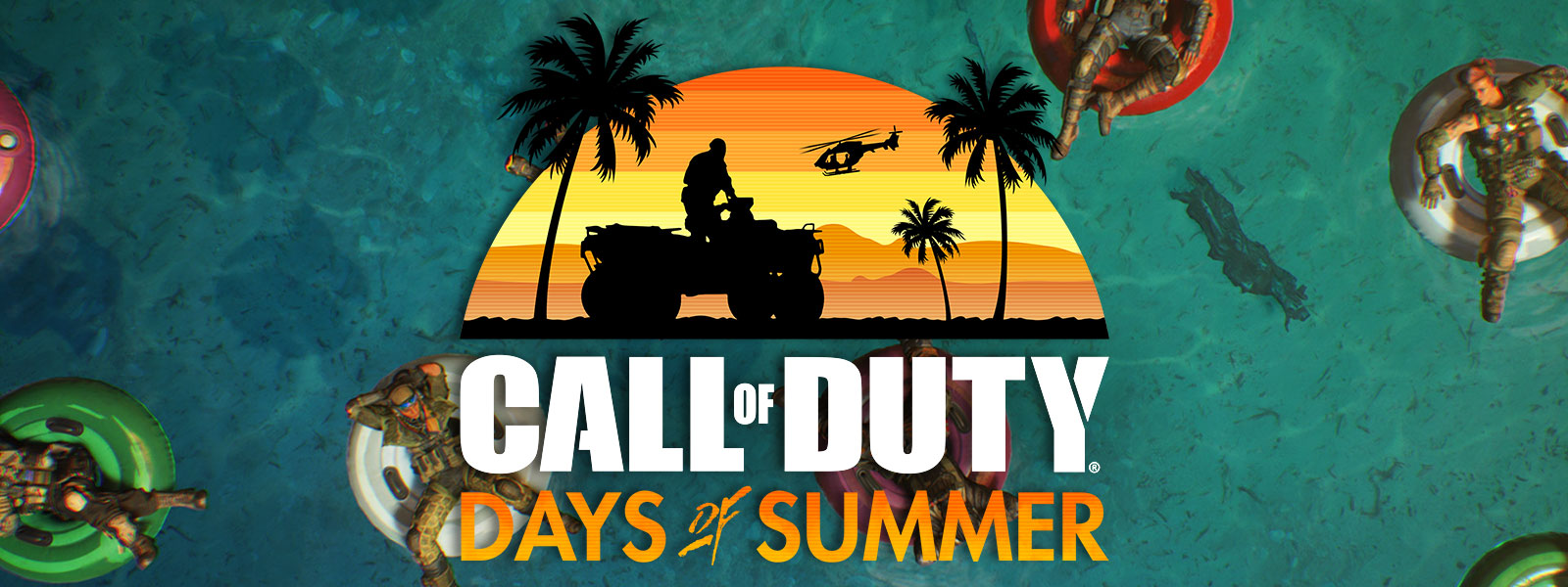Call of Duty Days of Summer logo, silhouette of a soldier on a four wheeler with palm trees and a helicopter in the background with a sunset on top of an image of soldiers in full military gear floating on inner tubes