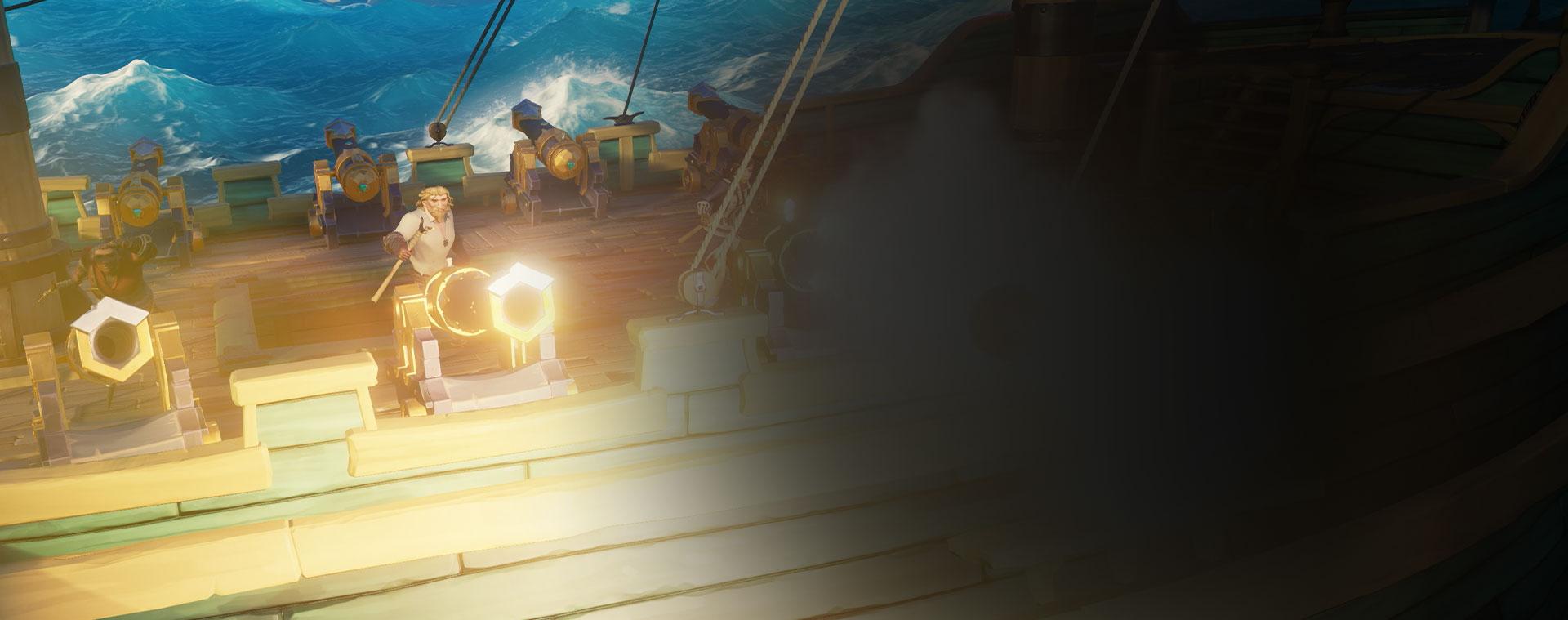 Personajes de Sea of Thieves disparando cañones desde un barco