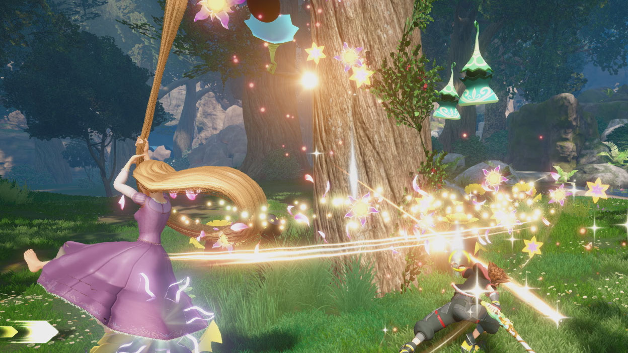 Rapunzel and Sora fight the Heartless in Corona