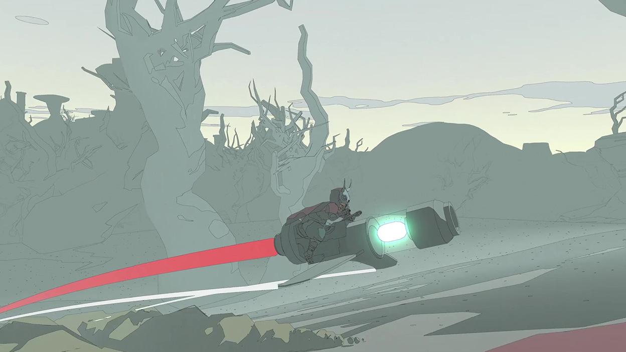 Sable letí na vznášadle cez les
