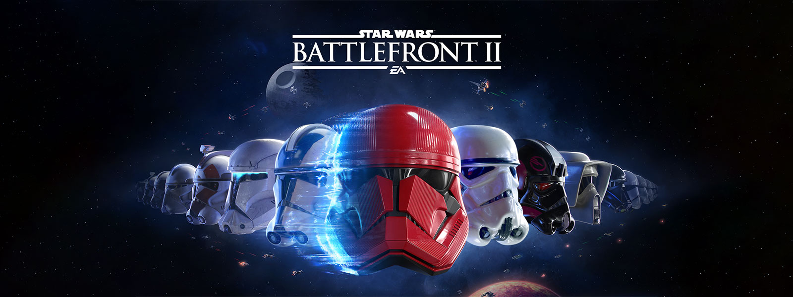 Star Wars Battlefront II, line-up of many different stormtrooper masks with the galaxy in the background
