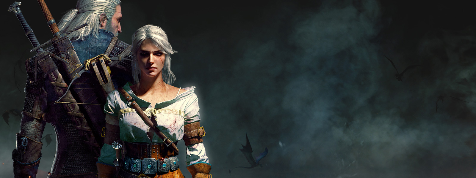 Geralt and Cirilla from the Witcher 3 standing back to back