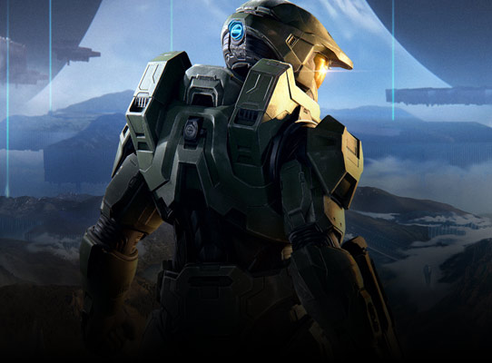 Back view of Master chief in front of a mountain range