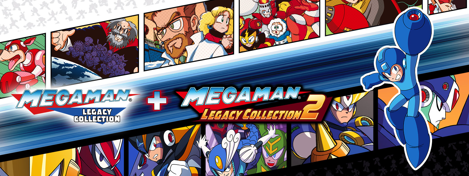 Mega Man Legacy Collection + Mega Man Legacy Collection 2, Mega Man holds up his buster gun on top of a background collage of multiple mega man characters in a film strip