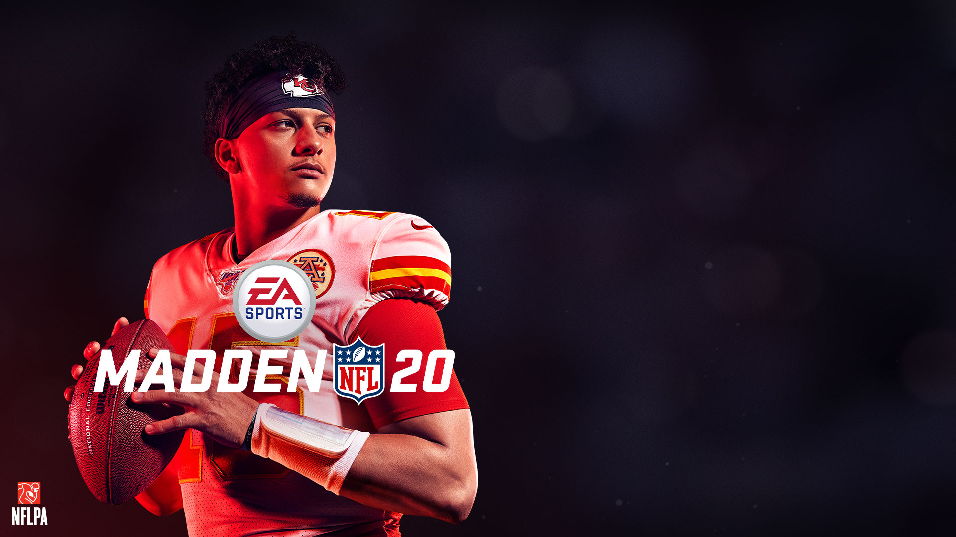 Madden NFL 20, NFLPA logo, Mahomes 2, Kansas City Chiefs, Kansas City Chiefs player Patrick Mahomes the second holding on to his collar padding