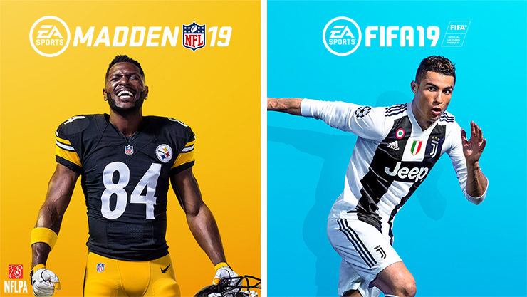 Vista da caixa do madden nfl 19 e do fifa 19