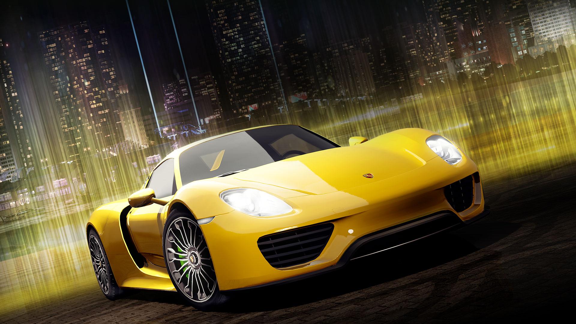 Front view of yellow Porsche Carrera