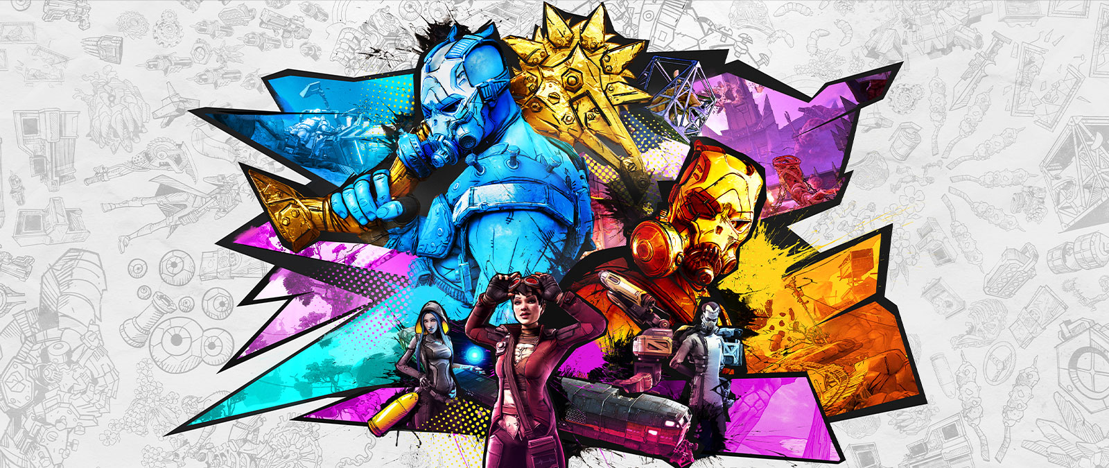 A colourful collage of Pyscho Krieg with other Vault Hunters and characters