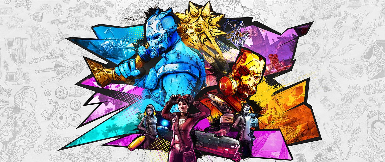 Un colorido collage del psicópata Krieg con otros buscacámaras y personajes.