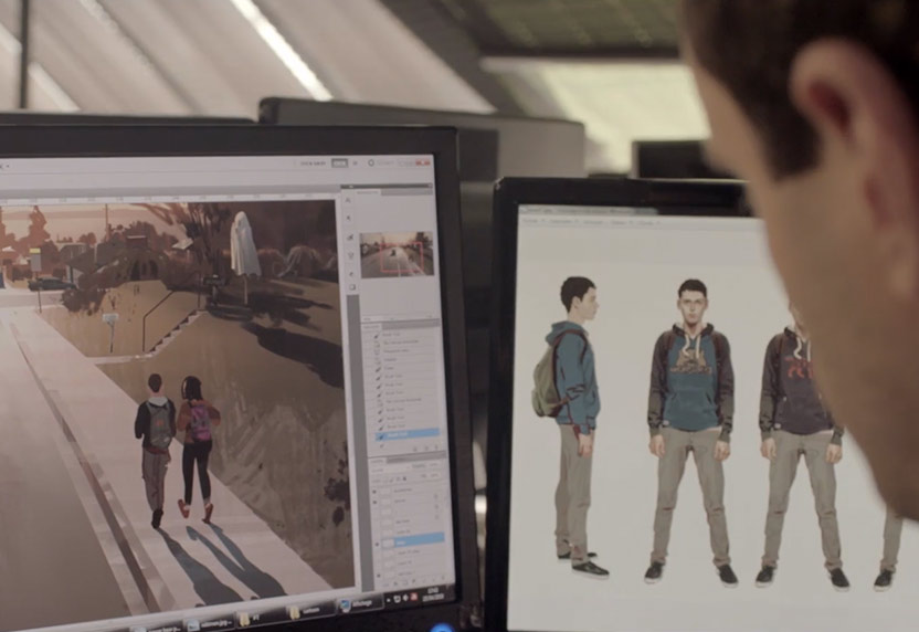 Close up of a developer's two screens working on Life is Strange 2