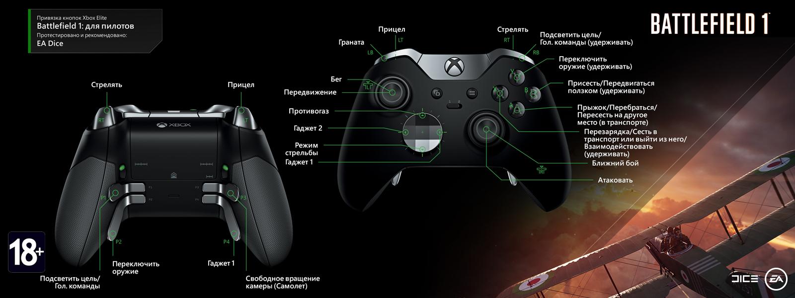 Battlefield 1 — раскладка для пилотов под геймпад Elite