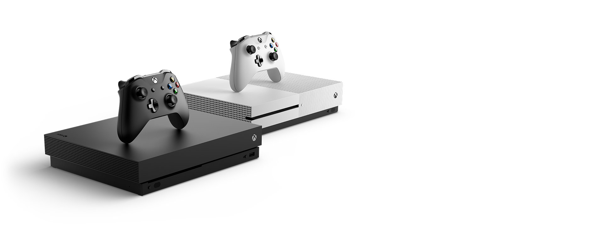 Xbox One S and Xbox One X hero image