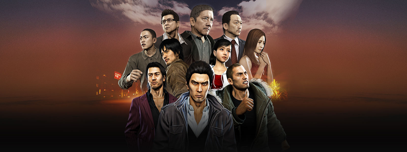 Kazuma Kiryu standing in front of a collage of Tojo Clan and Omi Alliance characters over a foggy city scene