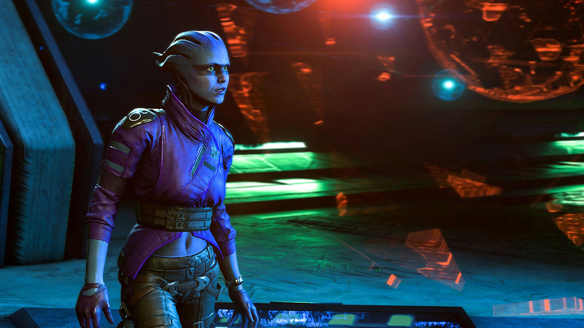 Front view of crew member Peebee in the spaceship Tempest