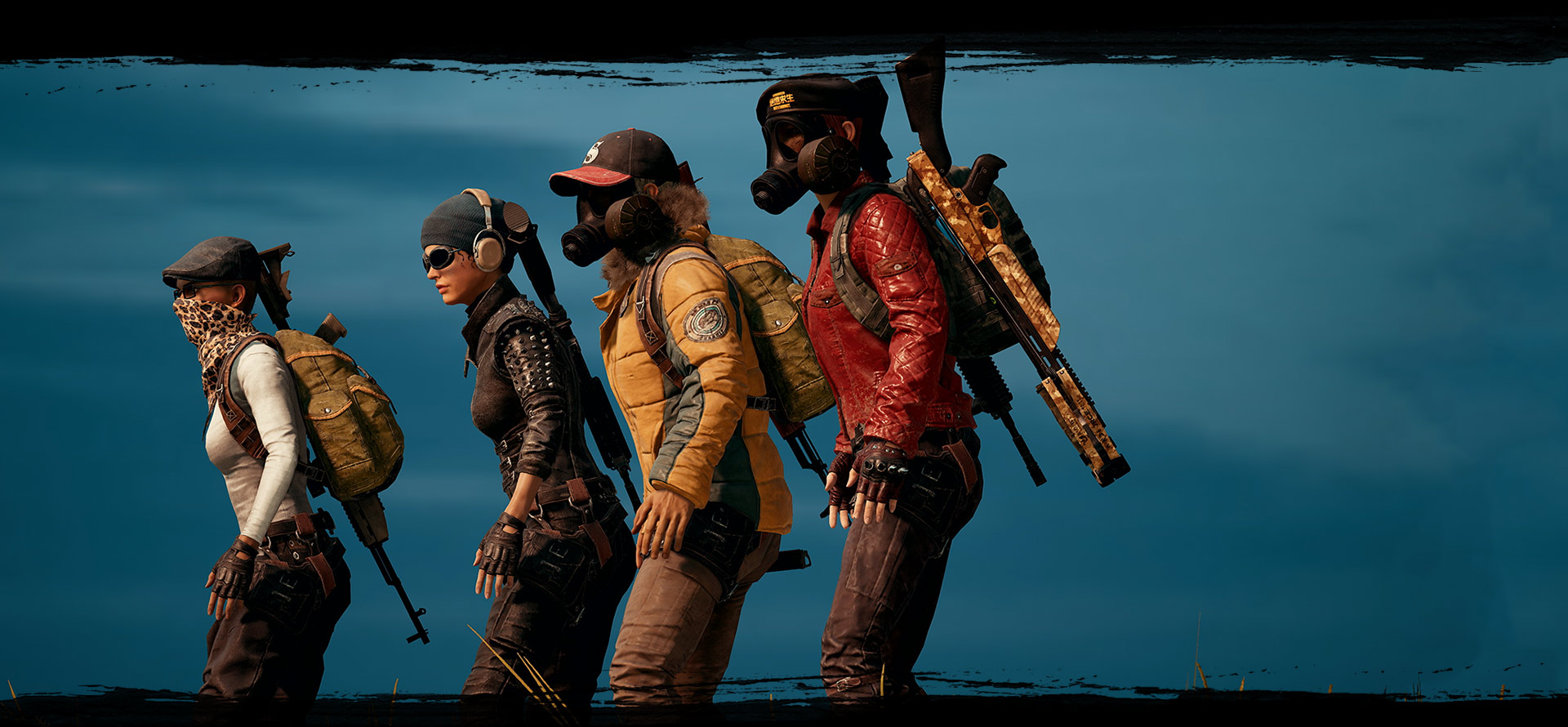 Profile view of 4 playable characters standing next to each other