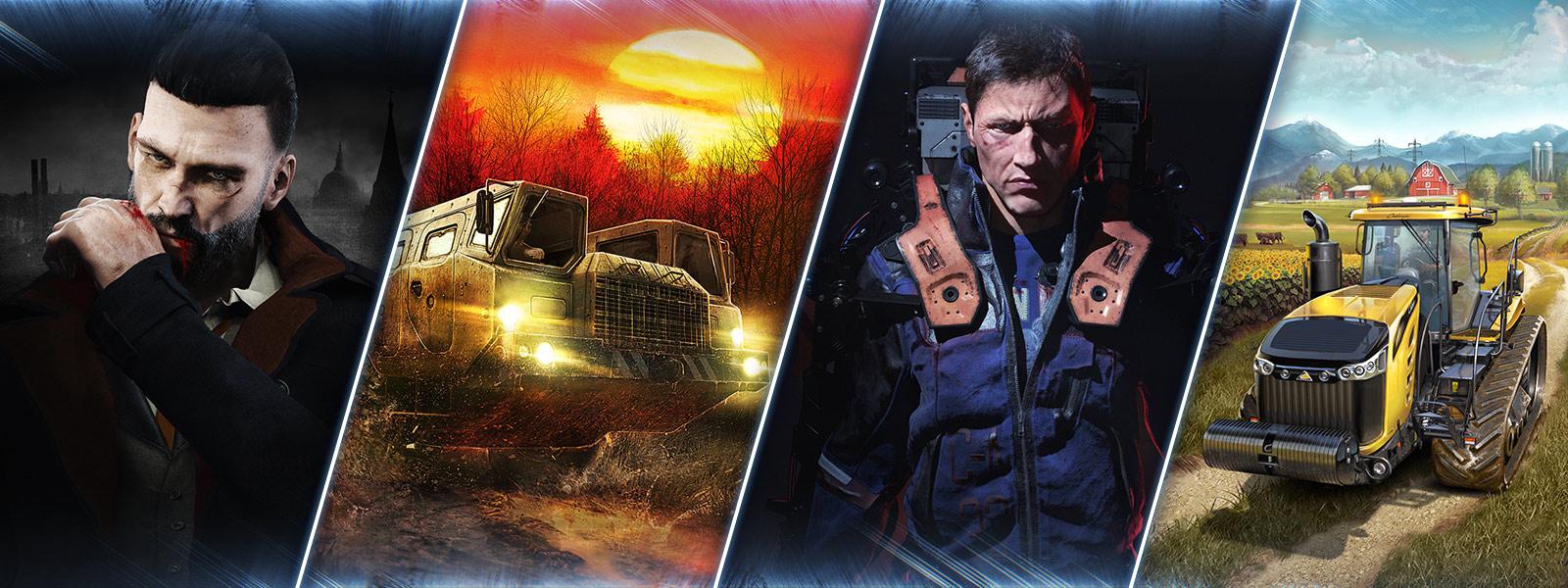 Vampyr, Mudrunners, The Surge and Farming Simulator graphics