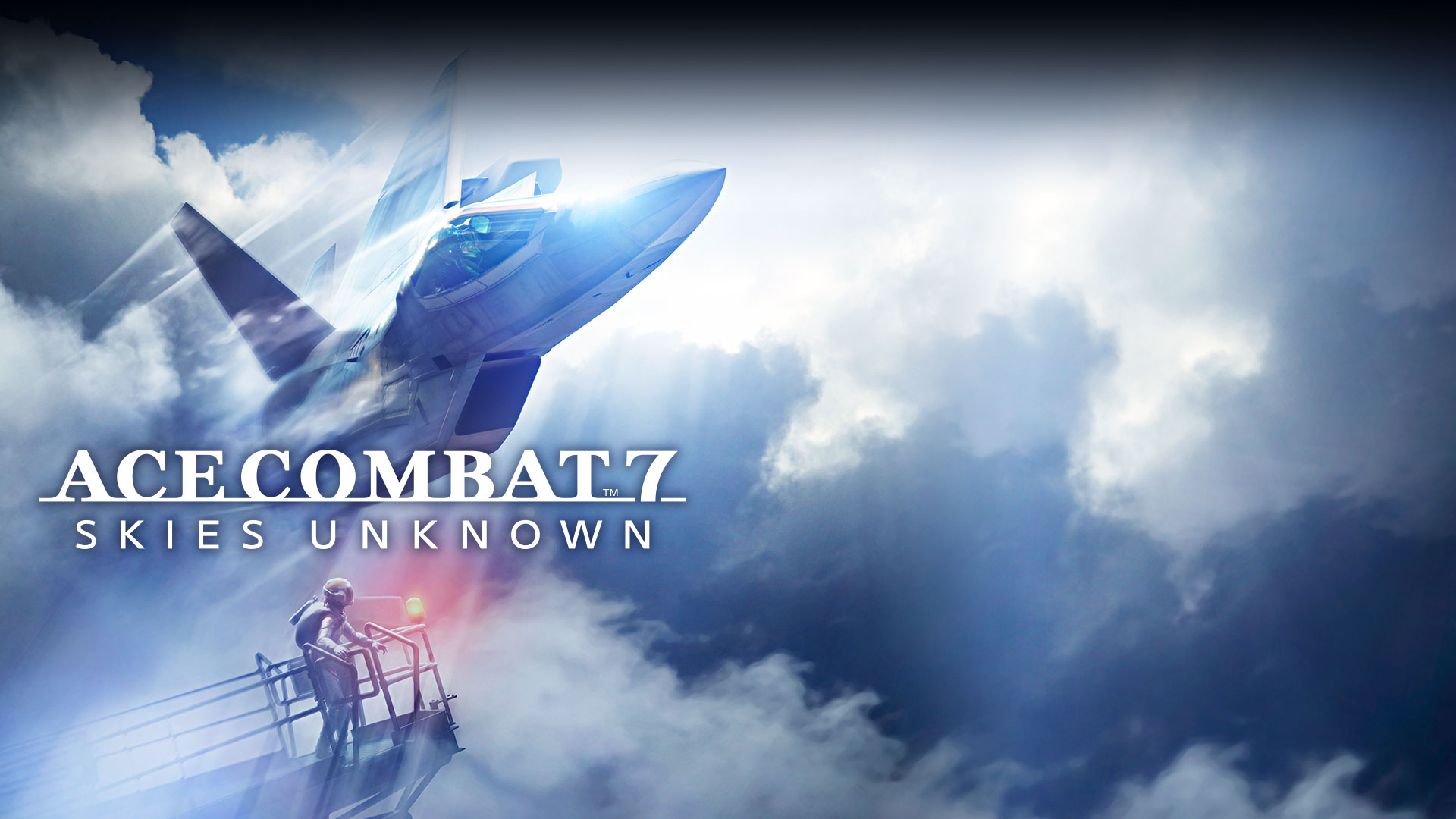 Ace Combat™ 7 Skies Unknown, Fighter jet streaking through the clouds.