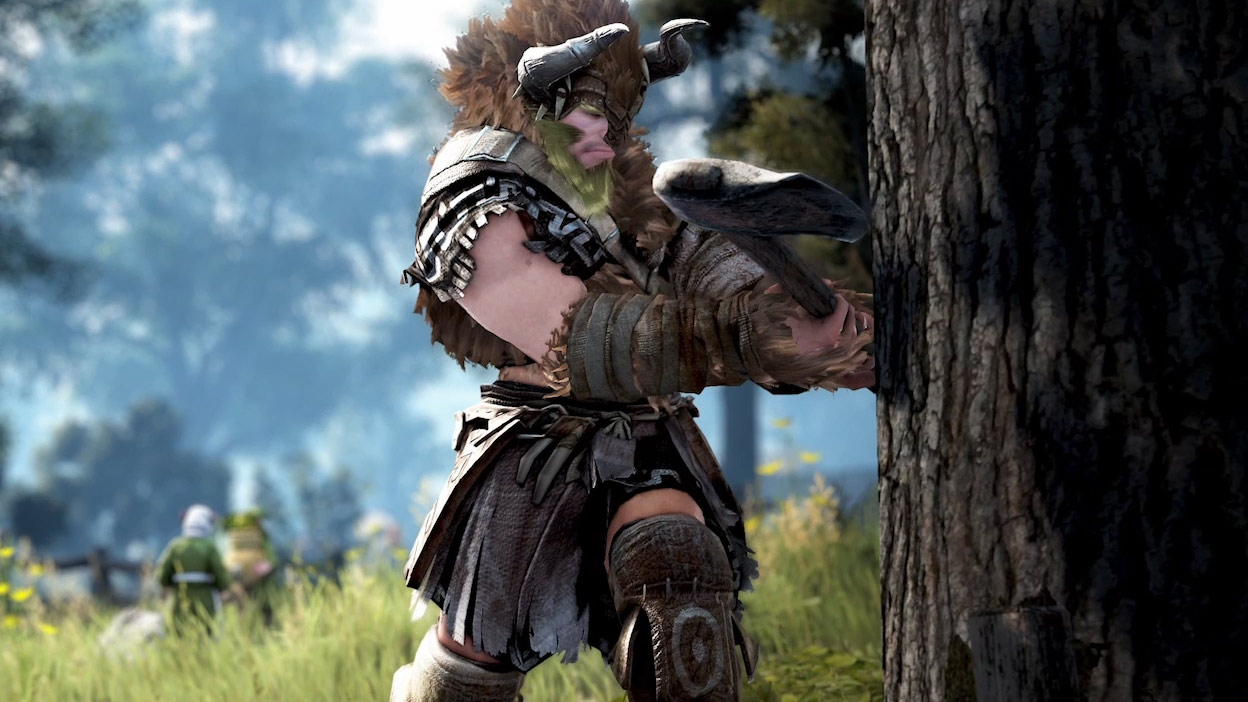 A large character in leather armor swings an axe into a thick tree.