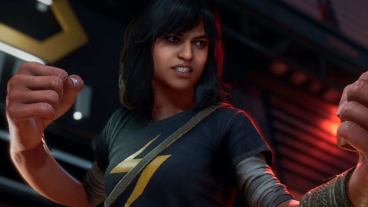 Kamala Khan from Marvel's Avengers with giant fists