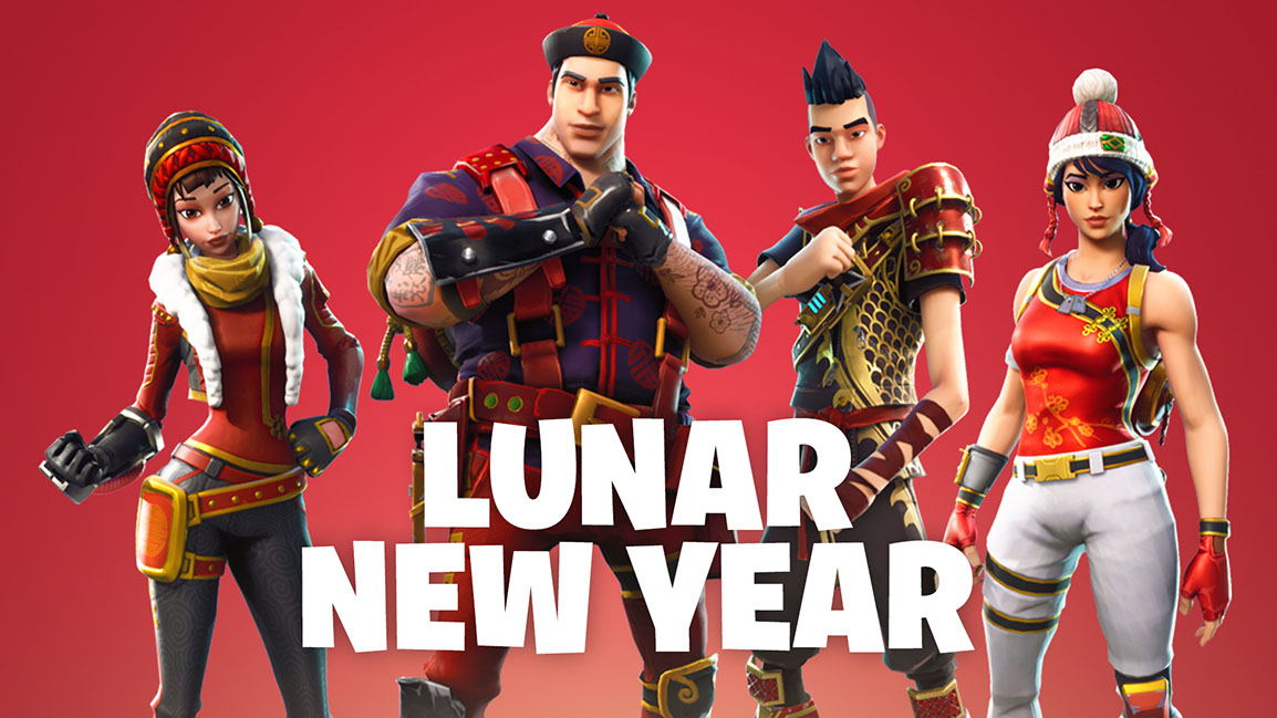 Lunar New Year, front view of 4 characters wearing Lunar New Year outfits