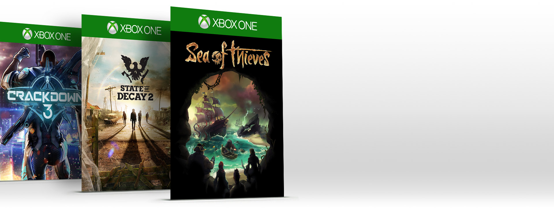 Trois jeux Xbox en ligne : Sea of Thieves, State of Decay 2 et Crackdown 3